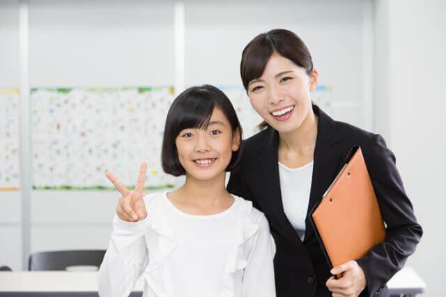 先生と生徒の写真